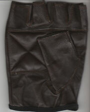 PAIR OF DARK BROWN LEATHER FINGERLESS GLOVES - SIZE LARGE