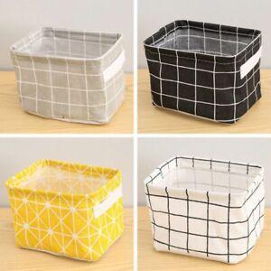 Small Mini Cotton Linen Baskets Desk Stationery Storage Consmetics Organizer