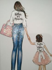Real Glitter Mother And Daughter picture A4 print only NO FRAME glitter diamante
