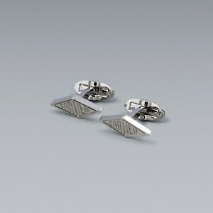 Cartier Diamond shaped cufflinks Silver color Men's jewelry Cuff links NEW