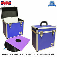 "1 X NEO Aluminium Blue DJ Flight Case to Store 50 Vinyl LP 12"" Records STRONG"