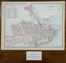 "Vintage 1903 QUEBEC CITY CANADA Map 14""x11"" ~ Old Antique BEAUPORT CAPITALES"