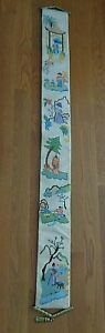 Vintage Collectible Spotless Finished Needle Point Bell Pull with Asian Figures