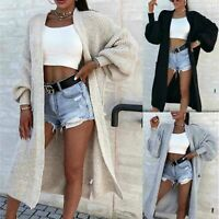 Plus Size  Ladies Chunky Knitted Oversized Balloon Sleeve Long Maxi Cardigan