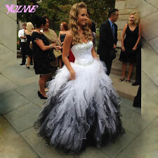 White And Black Quinceanera Prom Dresses Long Formal Sweet 16 Party Gowns Custom