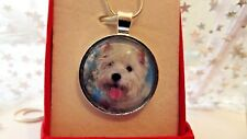 WEST HIGHLAND WHITE TERRIER PHOTO 22 INCH SILVER PLATED CHAIN GIFT BOX BIRTHDAY