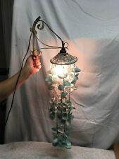 vintage sea shell cascading Whirly Wind Chime  nautical beach Light lamp 24in