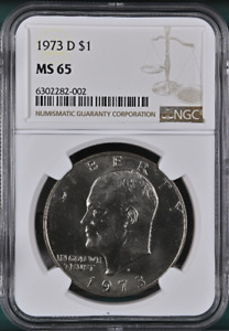 :1973-D $1 Eisenhower Dollar Clad Rare NGC Gem-BU MS-65 Low-Pop Highest-Grades