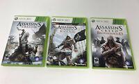Assassin's Creed Xbox 360 Lot Assassin's Creed III, Black Flag IV, Brotherhood