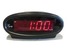 """30228 Equity Red 3/4"""" LED Clock Alarm Clock Plug In Battery"""