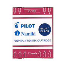 Namiki Pilot Fountain Pen Ink Cartridges, 12-pk, Blue/Black