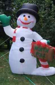 RARE! Christmas Inflatable Airblown HUGE 10' Snowman Hat North Pole Sign Blow Up