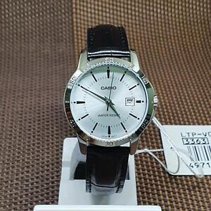 Casio LTP-V004L-7A Silver Dial Black Leather Band Analog Quartz Ladies' Watch