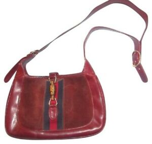 Gucci, dark red, leather/suede 1961 Jackie hobo w red/navy stripe & piston clasp