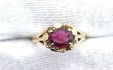 14Kt REAL Yellow Gold Oval Rubellite Red Tourmaline Gem Stone Gemstone Ring