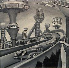 """THE FUTURE"", acrylic on canvas, 8"" x 8"", 1973, Jetsons, Futuristic, Visionary"