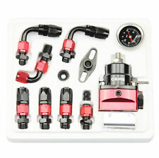 New Black & Red Adjustable Fuel Pressure Regulator Kit AN 6 Fitting End