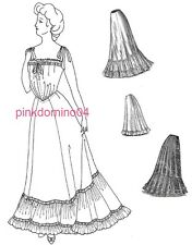 1905 Edwardian Petticoat Pattern, Multisize Waist 22 to 40 inches.