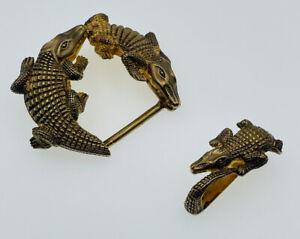 Jeff Deegan Sterling Silver Gold Vermeil Figural Alligator 2 Piece Belt Buckle