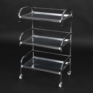 Electroplated Tempered Glass Rolling Wheel Storage Beauty Salon Trolley Cart