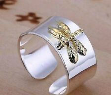 Sterling Silver Plated Dragonfly Adjustable Ring