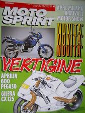 Motosprint 47 1989 Nuove Aprilia 600 Pegaso, Gilera CX 125. Su strada Cagiva Q78