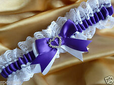 WEDDING BRIDAL BRIDE GARTER SATIN AND LACE violet purple and white hearts gift