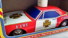 Vintage TAIYO JAPAN Tinplate BUMP N GO US FIRE CHEIF car MIB