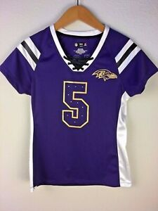 NFL Team Apparel Baltimore Ravens Woman's Flacco #5 Lace-Up Jersey Sequins Sz S