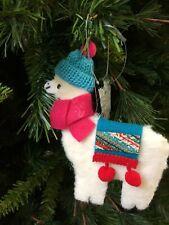 FESTIVE SOFT White LlAMA w/ Hat Scarf Hanging Decor Christmas Ornament-Style2
