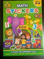 School Zone Math Stickers Workbook AGES 3-6 Counting MATH Telling Time MATCHING!