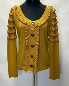 TEMPERLEY London Women Amber Color Knitted Sample Cardigan Size  Large    ^
