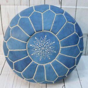 Authentic Round Blue jean leather Moroccan Pouf, Ottoman Pouf