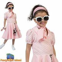 KIDS 50s PINK POODLE ROCKABILLY - Age 3-10 - Girls Child Fancy Dress Costume