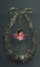 Alter Weihnachtsschmuck Christbaumschmuck Tinsel Lyra leonischer Draht 2 Engel
