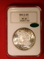 1880-S Morgan Silver Dollar NGC MS66 with CAC Old Fatty Holder & ring toning rev