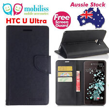 Black Mooncase Stand TPU in Wallet Case Cover For HTC U Ultra + Screen Protector