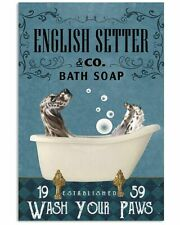 Bath Soap Company English Setter Poster Art Print - Funny Gift For Family