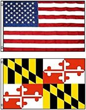 3x5 USA American Flag & State of Maryland Flag 3' x 5' WHOLESALE LOT Flags