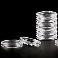 10pcs 27mm Applied Clear Round Cases Coin Storage Capsules Holder Plastic LJ