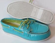 Sperry Top-Sider Girl's Size 13M Aqua A/O Boat Shoes With Green Laces