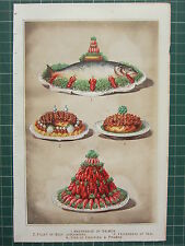 1880 COOKERY PRINT ~ MAYONNAISE OF SALMON CRAYFISH & PRAWNS FILLET OF BEEF