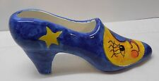 Moon and Stars High Heel Shoe Blue with Yellow Bellini Piu Made in Italy