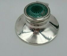 English Sterling Silver Ink Well with Enamel Top  Birmingham 1910  #10189
