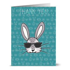 24 Thank You Note Cards - Cool Bunny Thank You - Gray Envs