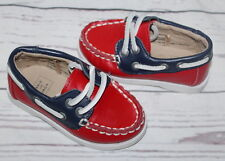 JANIE AND JACK Blue Red Leather Boat Loafers Fashion Shoes Toddler Boy Size 5