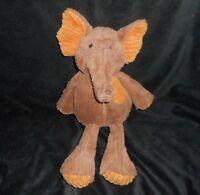 """14"""" PIER 1 ONE IMPORTS BROWN ORANGE RIBBED ELEPHANT STUFFED ANIMAL PLUSH TOY"""