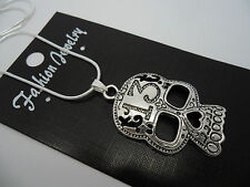 A TIBETAN SILVER SKULL NECKLACE. GOTH. NEW.