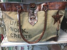 CANVAS LEATHER HANDBAG UNIQUE DESIGN LATCH OPENING WOMANS SHOPPING CASUAL