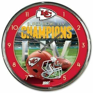 Kansas City Chiefs 12 Inch Super Bowl Champions CHROME Clock Perfect 4 Man Cave